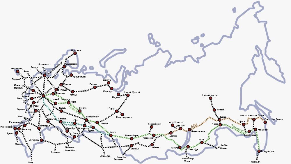 карта железных дорог РФ